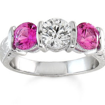 Ladies antique 18kt white gold past present future  Pink Sapphire and Diamond 1ctw engagement ring