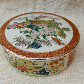 Satsuma Peacock Trinket dish // Asian peacock dish // oriental trinket dish // Red and gold Trinket dish