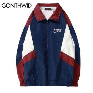 Trendy GONTHWID 2018 Vintage Color Block Track Jackets 90s Casual Embroidery Patchwork Windbreaker Full Zip Up Coats Hip Hop Streetwear AT_94_13