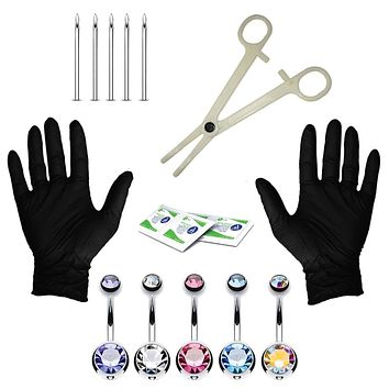 BodyJ4You 15PC Professional Piercing Kit Multicolor Steel 14G Double CZ Belly Navel Ring Body Piercing