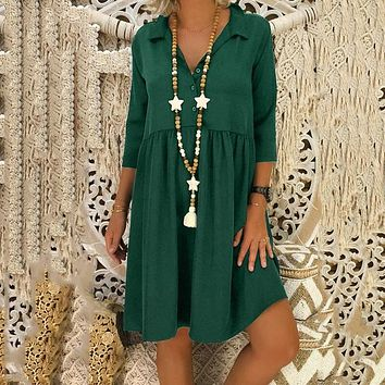 Summer Popular Women Casual Pure Color Simple Deep V Collar Loose Plus-Size Dress Green