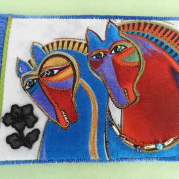 Quilted  Postcard - Laurel Burch Horses - Handmade  Postcard - Fabric  Postcard - Patchwork  - Artist Postcard - Birds Post Card