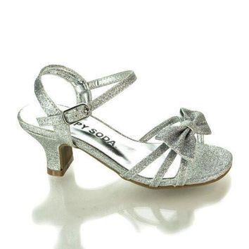 GirlyII Silver Metallic By Happy Soda, Children's Open Toe Bow Sling back Small Block Heel Sandals