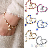 Women's Korea Style Magic Imitation Bracelet Fashion heart Crystal Bangle  0B4M