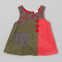 Olive & Red Corduroy Jumper - Kids