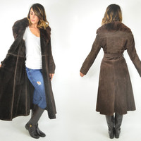 brown sude BOHEMIAN swing hippy glam SHEARLING FUR trench winter coat, medium-large