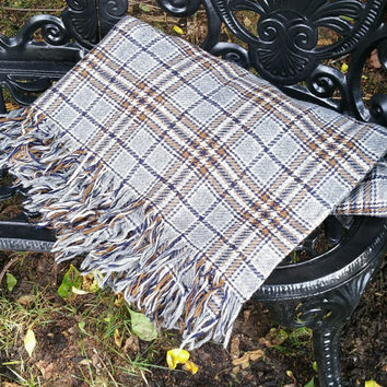 Vintage Gray Plaid Stadium Blanket  Wool Blend Afghan Throw