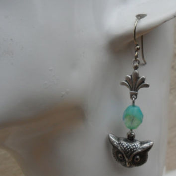 Vintage style owl earrings, ox silver plated owl charms, aqua tone metallic effect Czech glass beads, unique earrings; UK seller