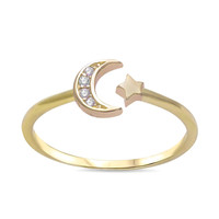 Yellow Gold Plated Sterling Silver CZ Crescent Moon & Star Ring