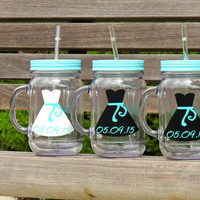 bridesmaid cups, bridal party cups, wedding party favor, bridal mason mugs, acrylic tumbler, plastic mason mugs, bachelorette party cups