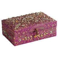 Embroidered Purple Jewelry Box