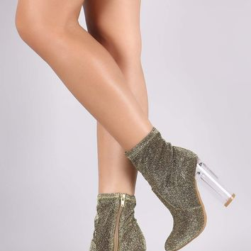 Bamboo Foiled Metallic Chunky Clear Heeled Ankle Boots