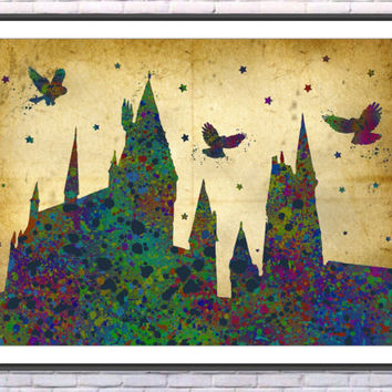 Hogwarts Harry Potter Watercolor Art Print Home Decor Painting Wall Art Giclee Home Decor Nursery Print