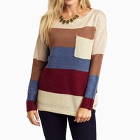 Mocha-Colorblock-Knit-Sweater