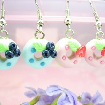 Mini Strawberry and Blue Berry Donuts Earrings (2pairs) Food Jewelry