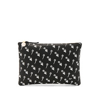 Clare V. Supreme Flat Clutch in Black & Cream