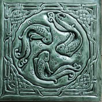 Celtic'fish of knowledge'ceramic bas relief tile in fern green glaze