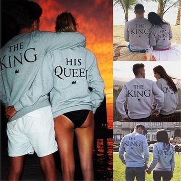 Fashion Men Women Grey King Queen Letter Print Long Sleeve T-Shirt Top Blouse Shirt Couple Hoddies Best Sale(Notes:Men's Sweatshirt Suggest a Larger Size,Thank you) [9210700739]