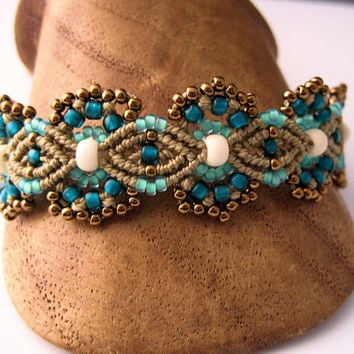 Teal and Khaki Beaded Macrame Bracelet MicroMacrame Flowers