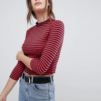 ASOS Stripe High Neck Crop Top With 3/4 Sleeve at asos.com
