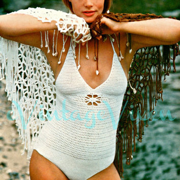 1970s Retro Sight-by-the-Sea Swimsuit with Flower Cutout-Vintage Crochet Pattern-Sexy One Piece Swimsuit-Maillot-OnePiece Top Bathing Suit
