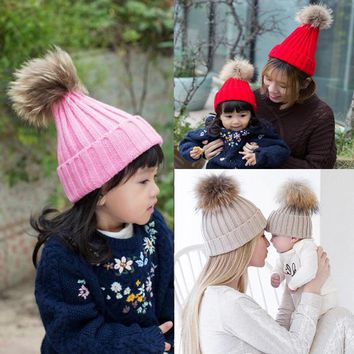 2017 Winter Girls skullies beanies Boys Winter Warmer Wool Fur hat elastic Kids Cap Pompom Ball Baby Knitted Hat Hairball Caps