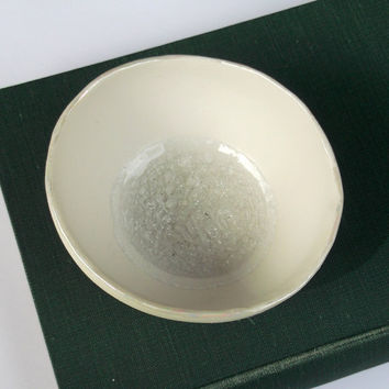 Porcelain Decorative Bowl with Glass and Pearly Rim - Medium - Wedding Gift Christening Present