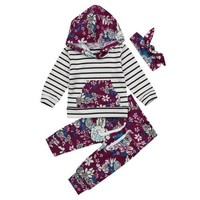 Autumn Winter Baby Clothing Newborn Kids Baby Boy Girl Floral Hooded Outfit Clothes Romper Tops+Pants Headband Set