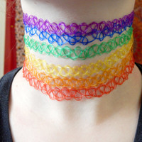 RAINBOW TATTOO CHOKERS : Trippy Hippie, Grunge, Tattoo Chokers, Colorful, 90's, Jewelry, Choker Necklaces