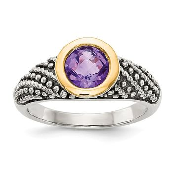 Sterling Silver Two Tone Silver And Gold Plated Sterling Silver w/Amethyst Ring
