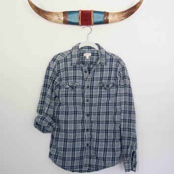 Medium Vintage Flannel Plaid Button Down, Navy And White Plaid, Not Mystery Flannel