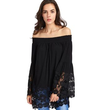Eyelet Off Shoulder Bell Sleeve Top