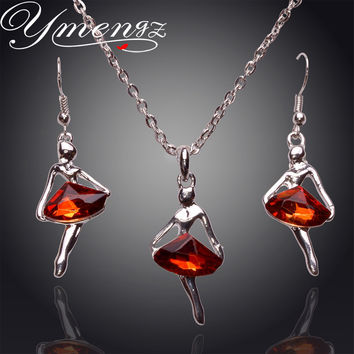 Girl Jewelry Set - Bling Crystal Ballet Pendant Ballerinas Long Necklace & Earrings