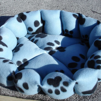 Cat bed or dog bed in paw print light blue fleece 18 inch machine washable