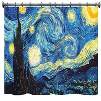 Starry Night Shower Curtain - CUSTOM Art rendition of Vincent Van Gogh