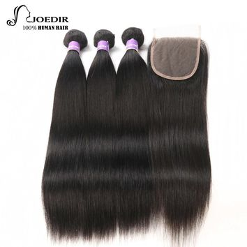 Peruvian Hair Bundles With Closure Joedir Human Hair Bundles With Closure Straight Hair 2/3/4 Bundles With Closure Non Remy