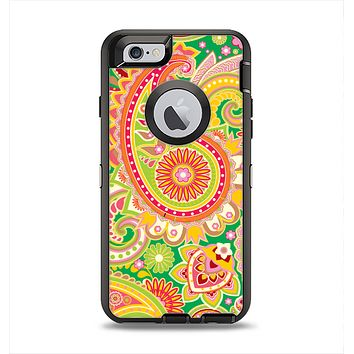 The Vibrant Green and Pink Paisley Pattern Apple iPhone 6 Otterbox Defender Case Skin Set