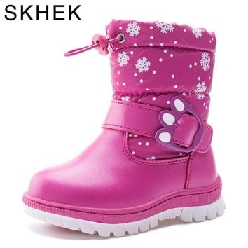 SKHEK kids boots girls winter shaggly kids boots boy with leather ankle length and rubber snow   children boot girls Y1612