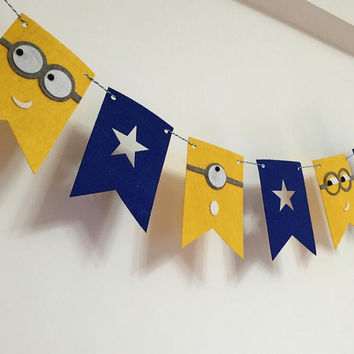 Party Garland Yellow Minions Flags Bunting Banner Baby Shower Decorations Kids Birthday Party Decor Party Supplies
