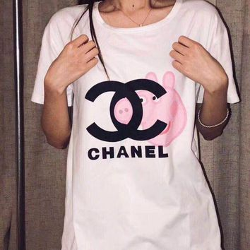 """""""Chanel"""" Fashion Gucci Peppa Pig Unisex Casual Summer Spoof Print Short Sleeve Round Collar Couple Cotton T-Shirt Pullover Top I-JZP-36"""