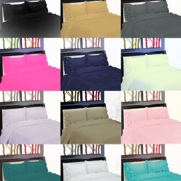 NEW GYPSY STYLE MICROFIBER PILLOW CASES FLAT FITTED BED SHEET SET RUFFLE 3/4PC