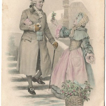 Austrian Gentleman Traveler and Lady in Pink dress offering holy sprig  Austria Winter Scene Vintage Postcard 1912