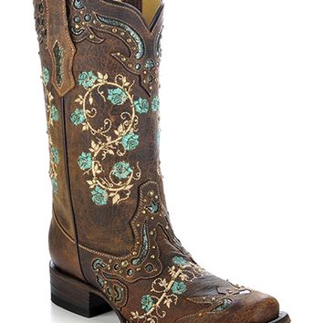 CORRAL Women's Studded Floral Embroidery Cowgirl Boot Square Toe - R1373