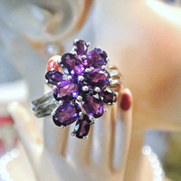 Vintage Ring Amethyst Cocktail Cluster Genuine Natural Gemstone 925 Sterling Silver Size 6 Estate Jewelry Concord Grape Deep Purple