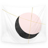 Society6 Contemplate Moon Art Print In Pink Black Wall Tapestry