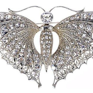 Alilang Womens Vintage Silver Toned Elegant Butterfly Moth Insect Convertible to Pendant Brooch Pin