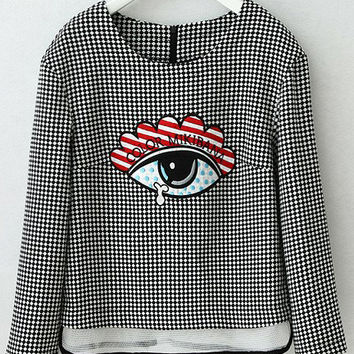 Black and White Plaid Eye Embroidered Long Sleeve Blouse