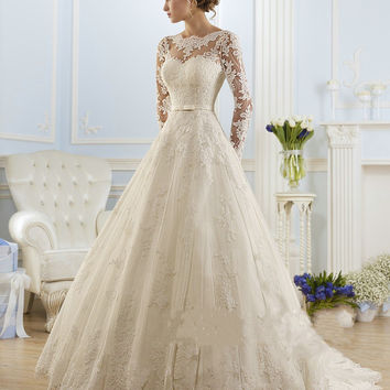 Luxury Long Sleeve Lace Appliques Low Back Wedding Dress A-line