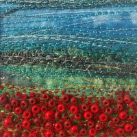 Handmade fabric and beads art card - Poppy field - Beaded and embroidered card - 3 available