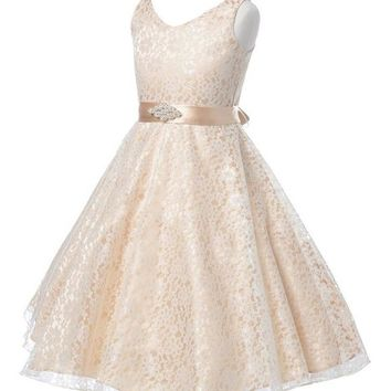 Multi Color Girls Full lace Party wedding dress